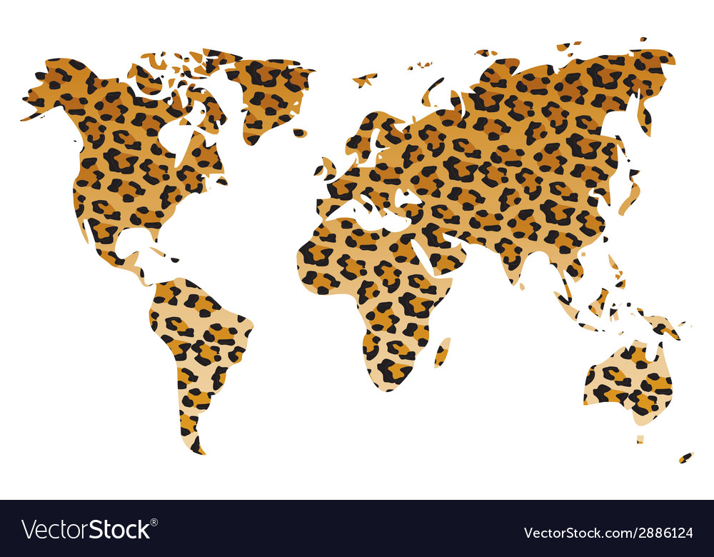 World map in animal print design leopard pattern vector | Price: 1 Credit (USD $1)
