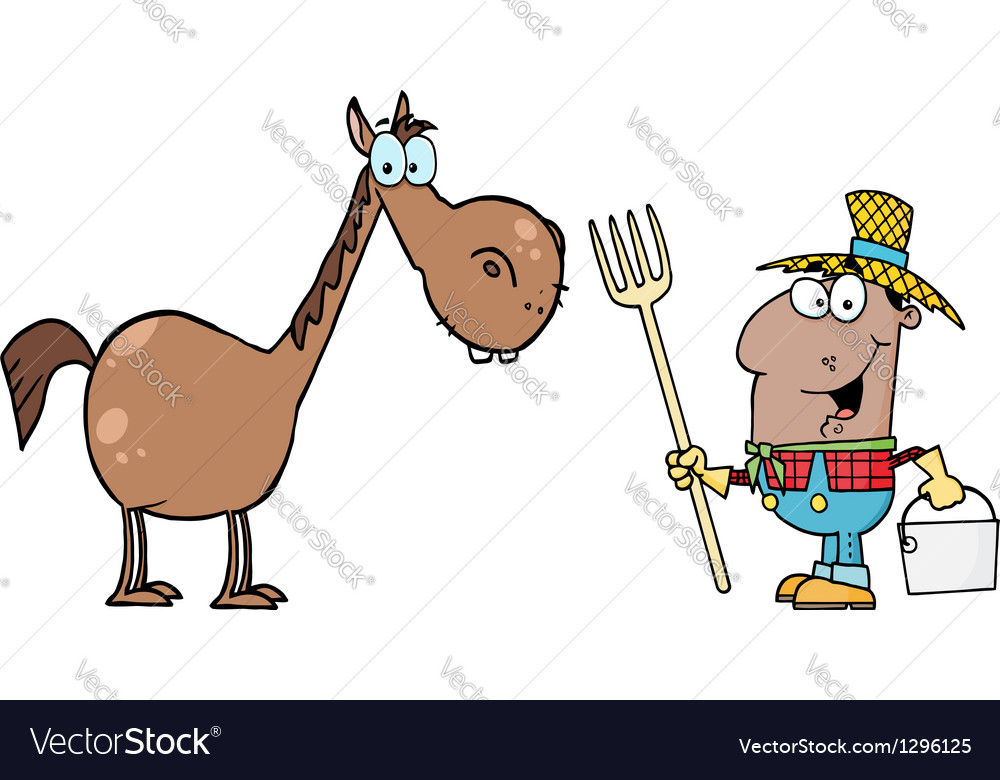 African american farmer with horse vector | Price: 1 Credit (USD $1)