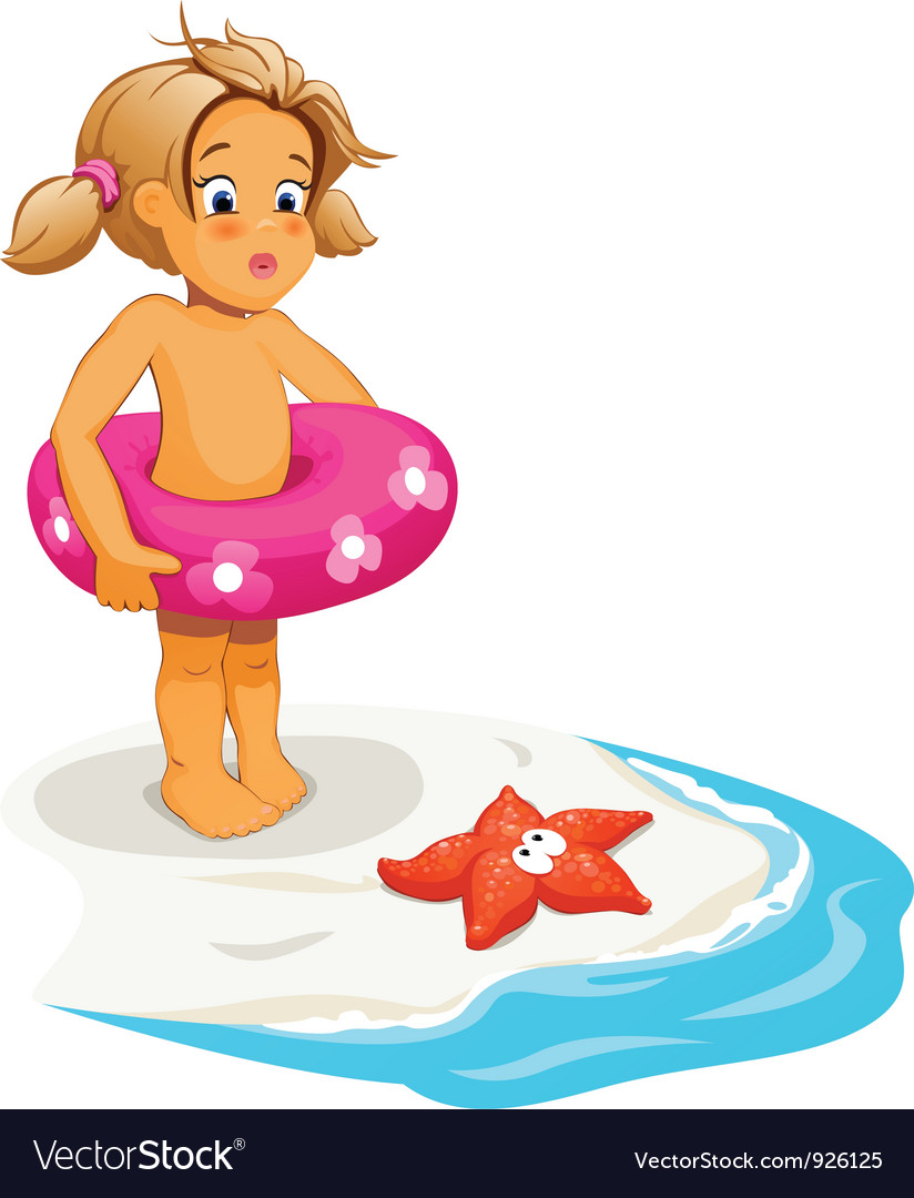 Baby girl and starfish on beach vector | Price: 3 Credit (USD $3)