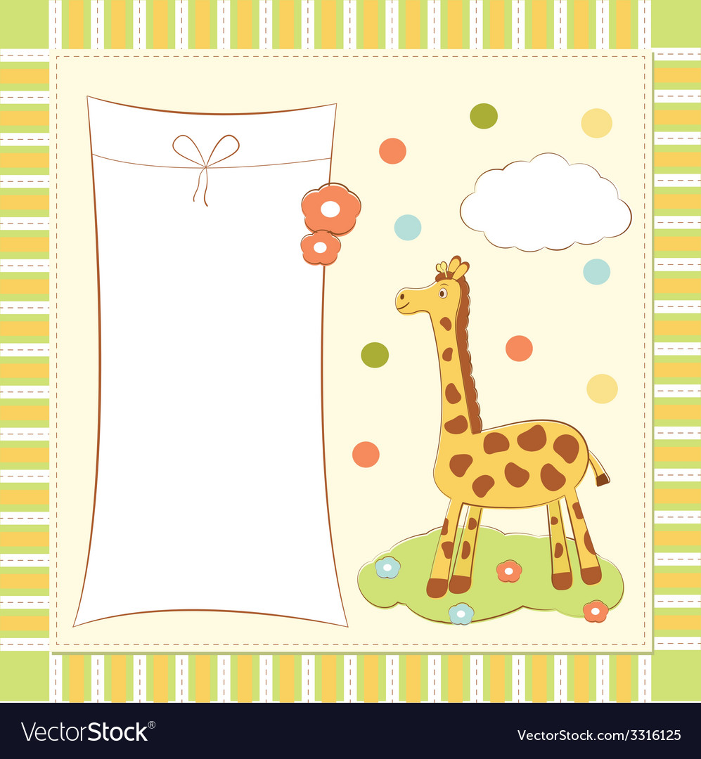 Baby greeting card with giraffe vector | Price: 1 Credit (USD $1)