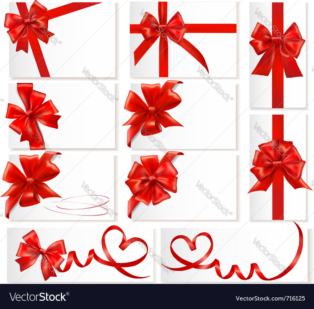 Big set of red gift bows with ribbons vector | Price: 3 Credit (USD $3)