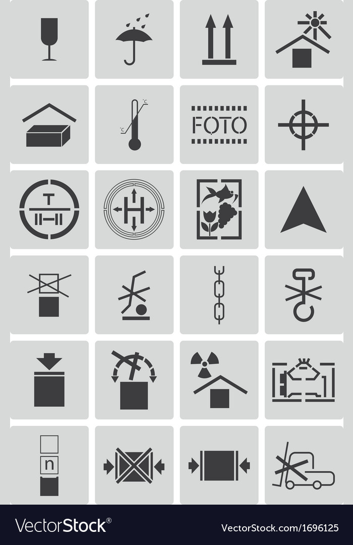 Black marking cargo icons set vector | Price: 1 Credit (USD $1)