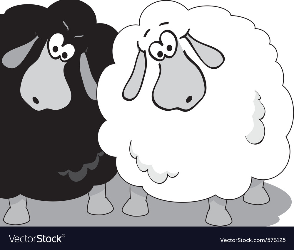 Cartoon sheep black and white vector | Price: 1 Credit (USD $1)