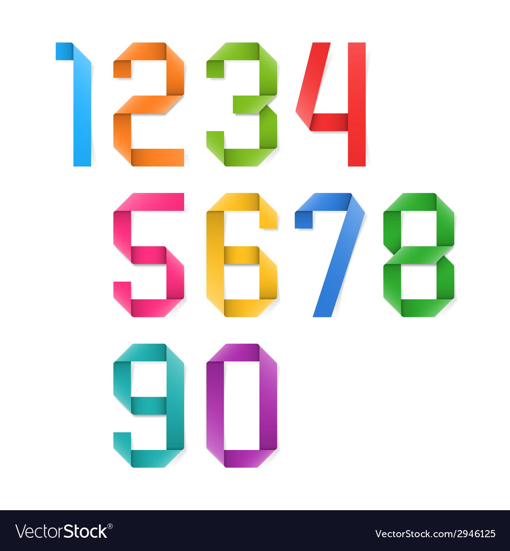 Colorful origami numbers vector | Price: 1 Credit (USD $1)