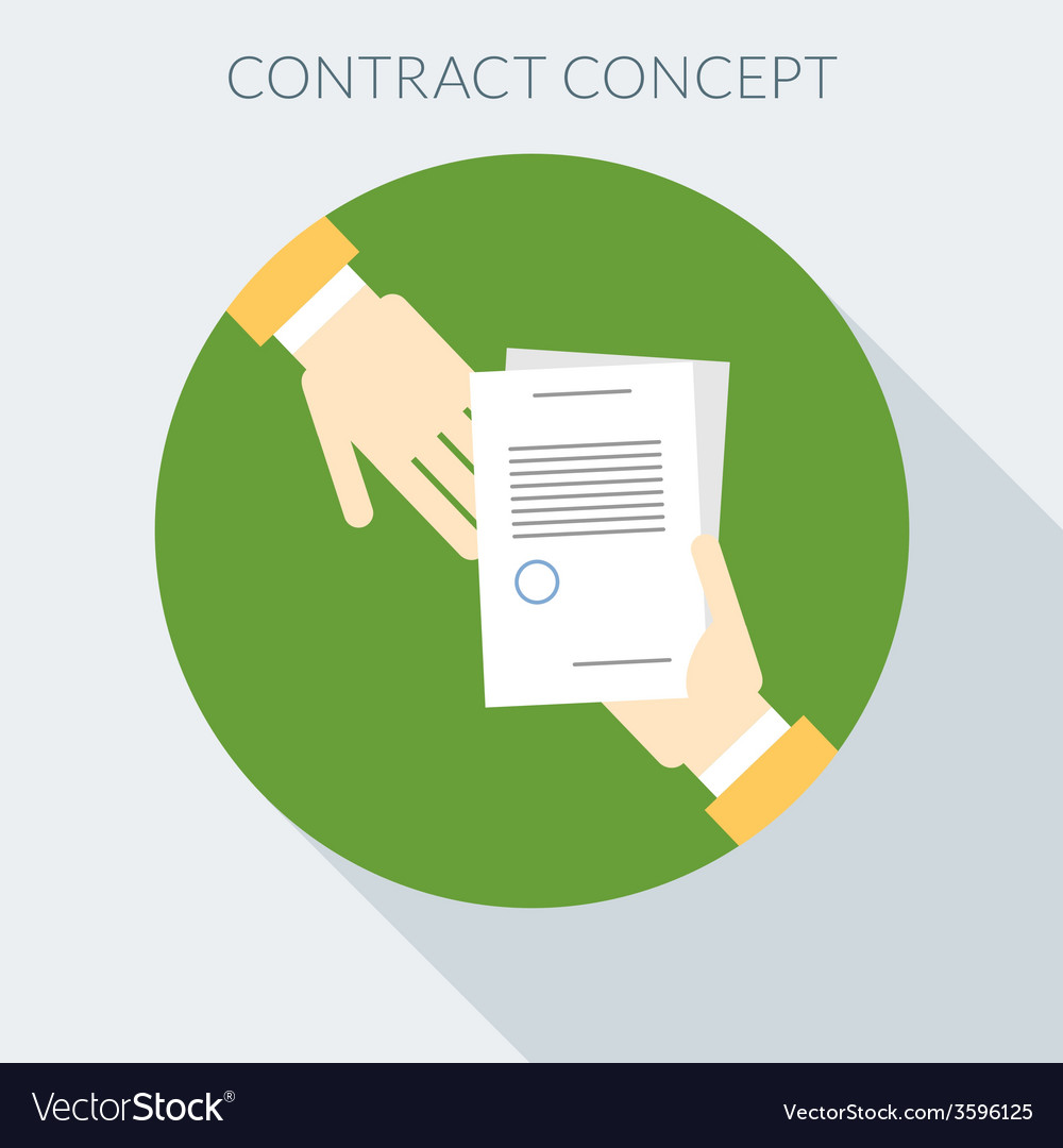 Contract concept hand giving document to other vector | Price: 1 Credit (USD $1)