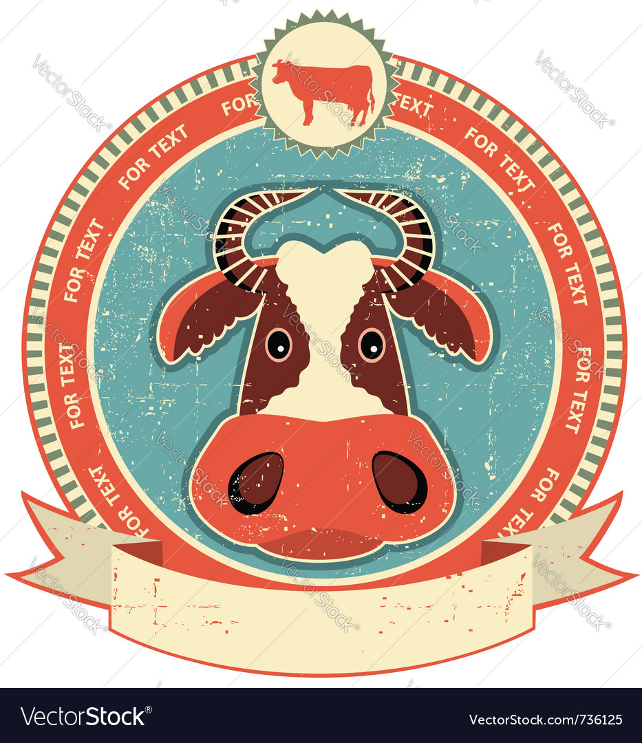 Cow head label vector | Price: 1 Credit (USD $1)