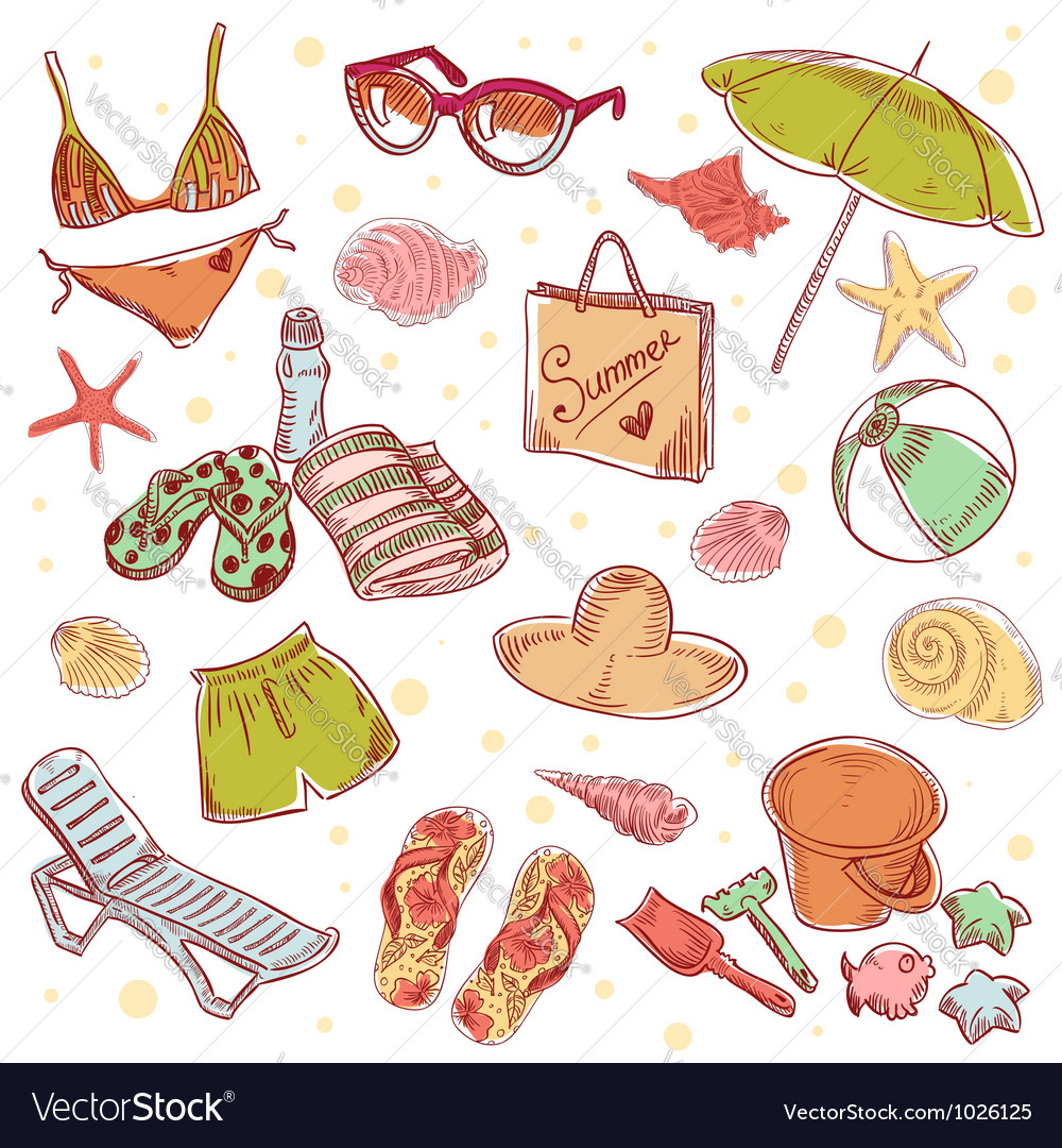 Hand drawn retro icons summer beach set vector | Price: 3 Credit (USD $3)