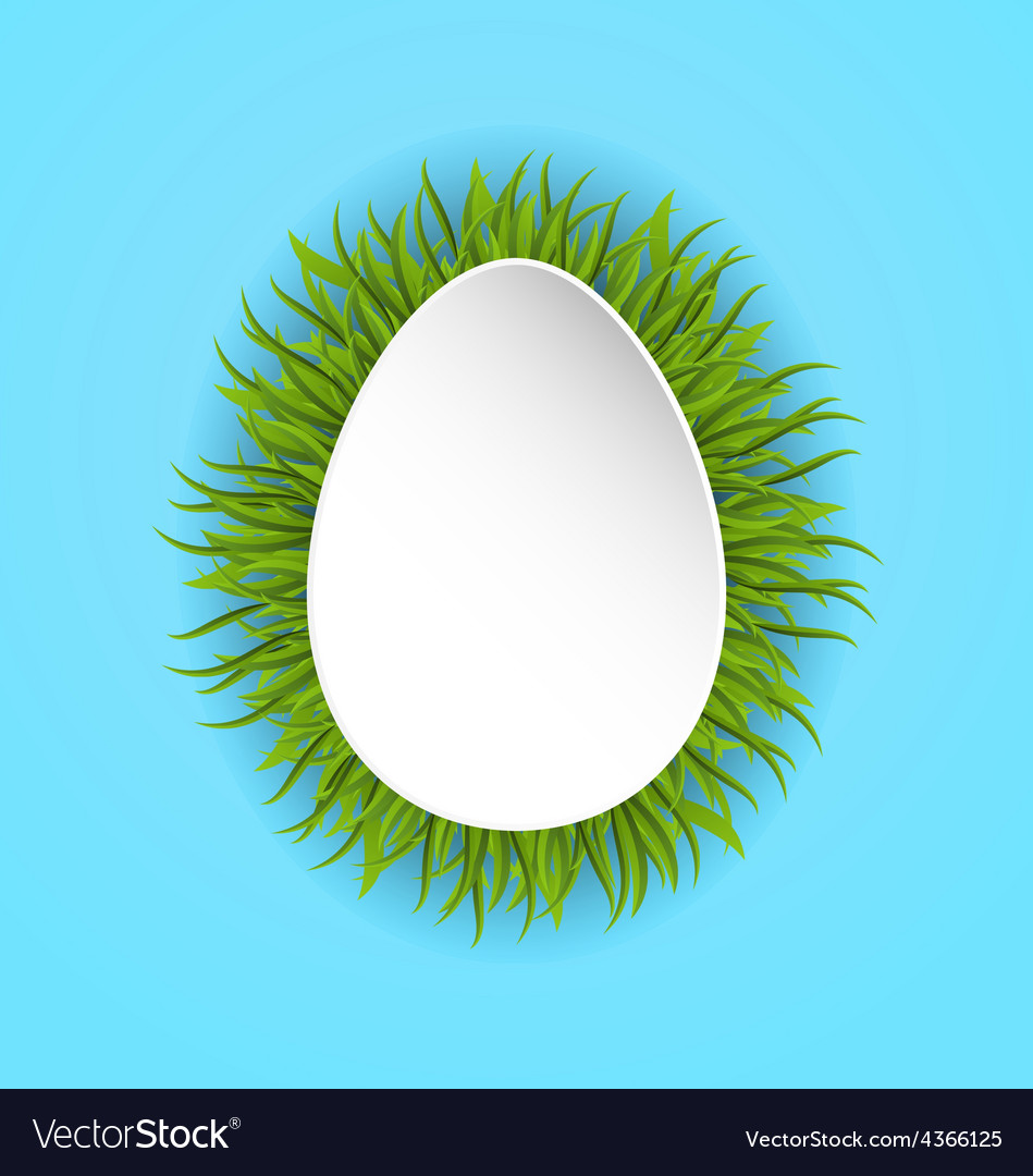 Happy easter paper card in form egg with green vector | Price: 1 Credit (USD $1)