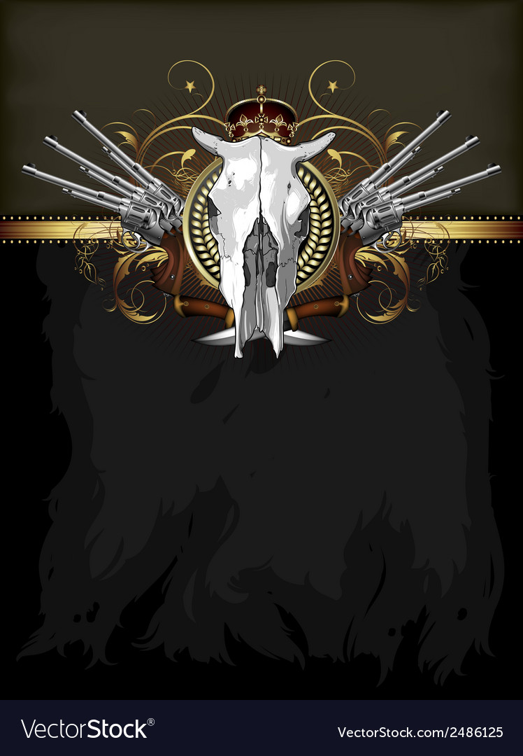 Ornate frame with skull and arms vector | Price: 1 Credit (USD $1)