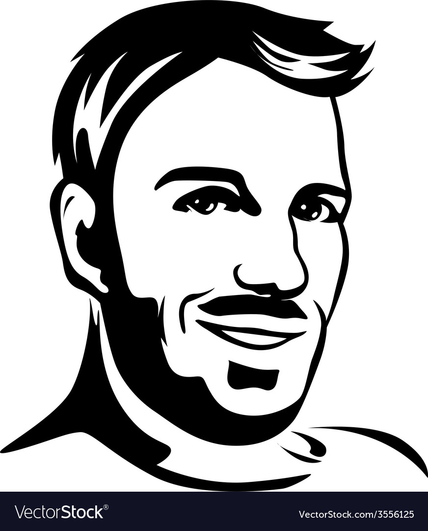 Portrait of young man - black outline vector | Price: 1 Credit (USD $1)