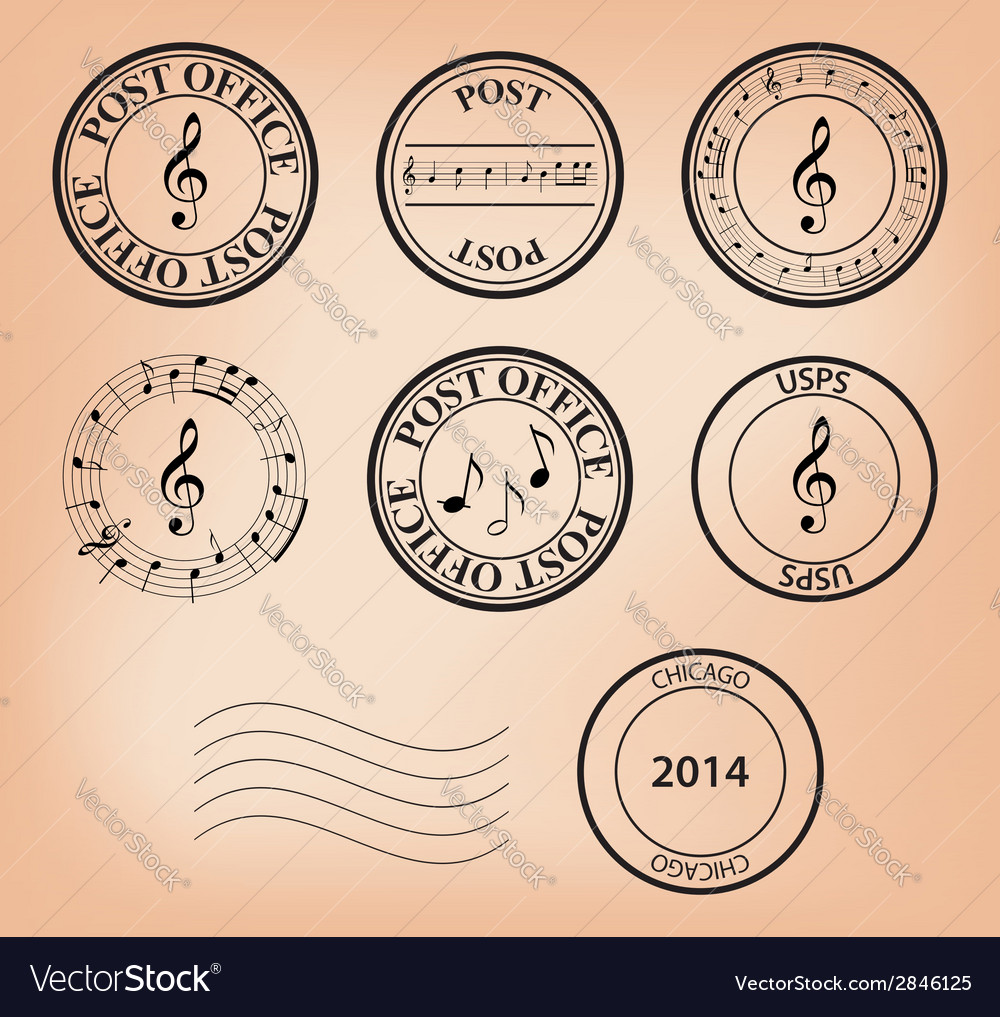 Set - music post stamps vector | Price: 1 Credit (USD $1)