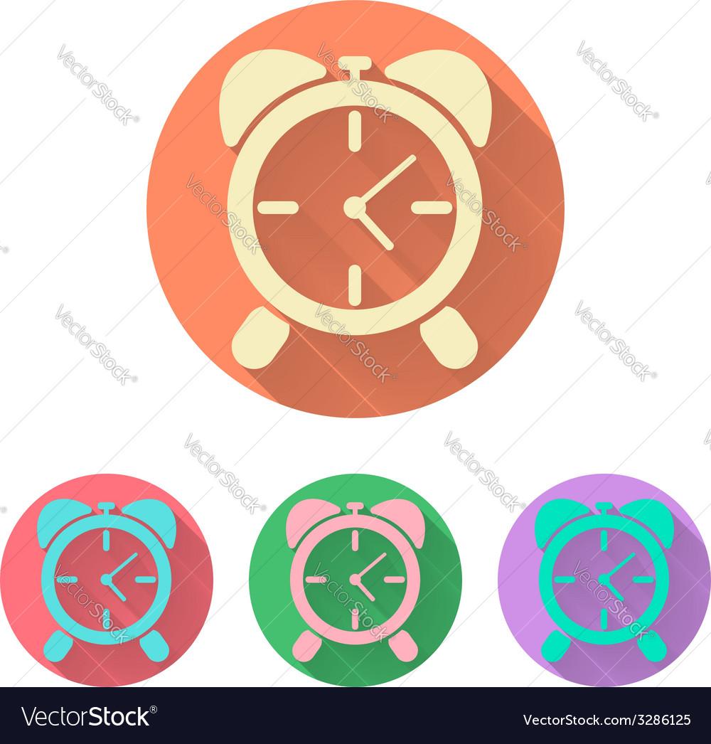Set the alarm clock icon with shadow vector | Price: 1 Credit (USD $1)