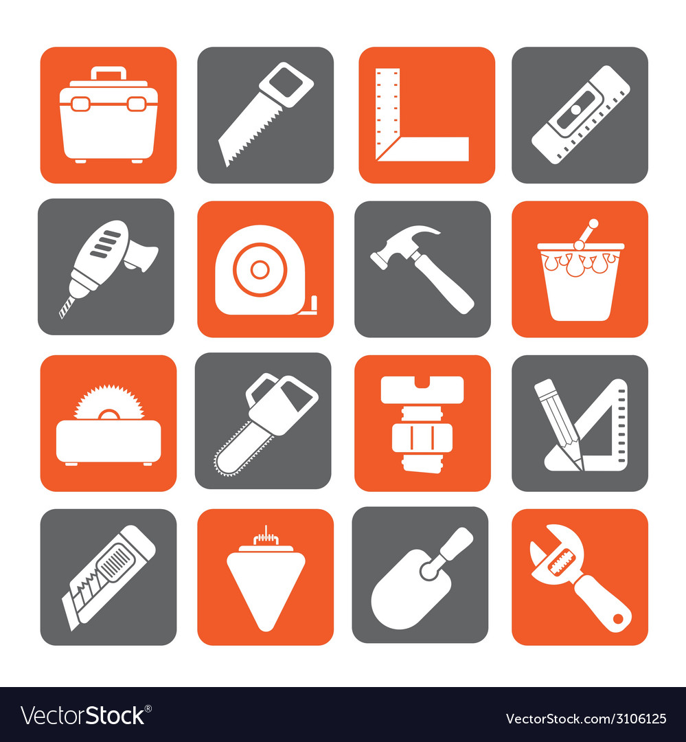 Silhouette construction objects and tools icons vector | Price: 1 Credit (USD $1)