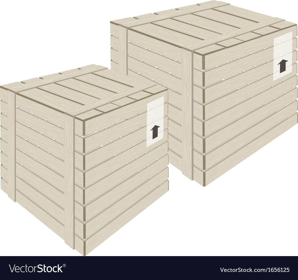 Two wooden cargo box on white background vector | Price: 1 Credit (USD $1)