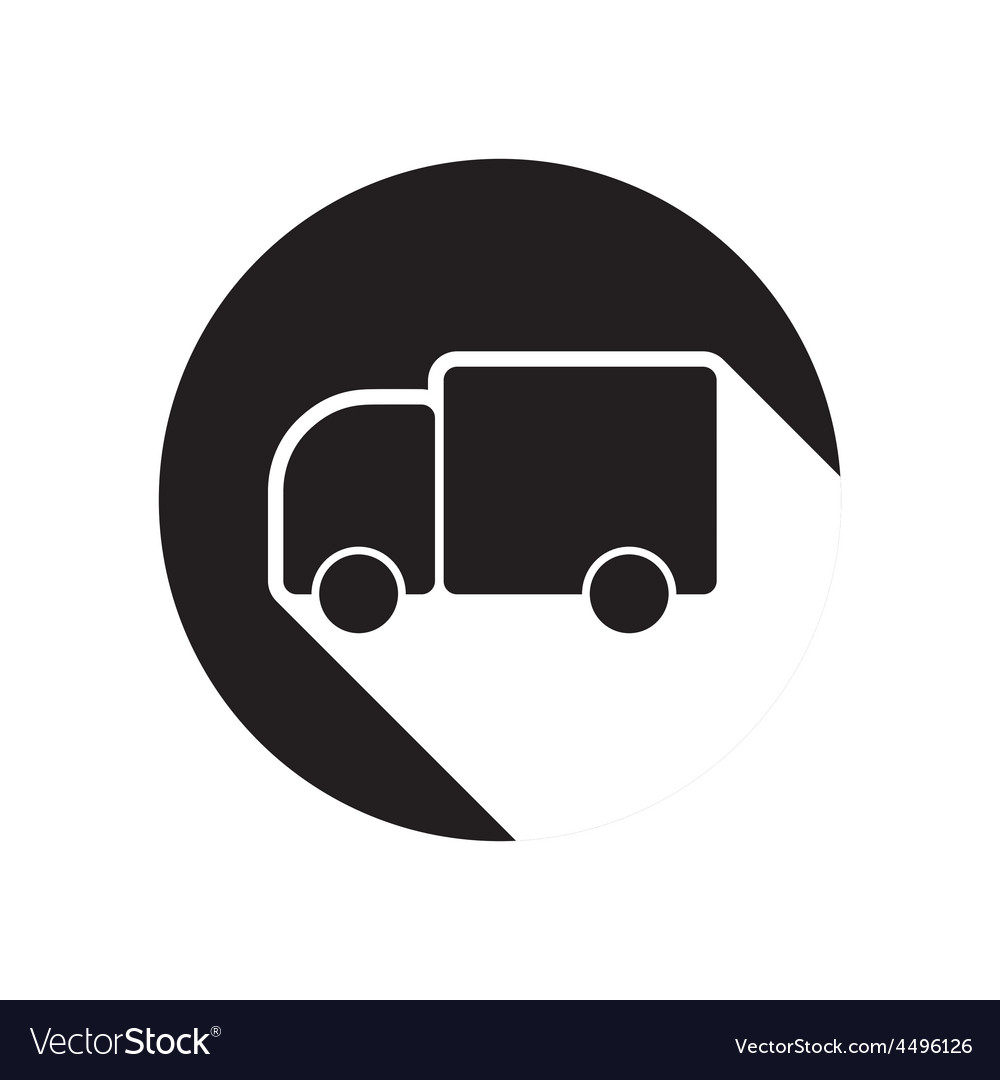 Black icon with lorry and shadow vector | Price: 1 Credit (USD $1)