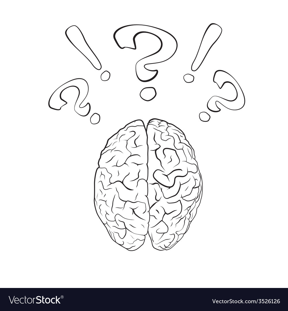 Brain with question mark and exclamation mark vector | Price: 1 Credit (USD $1)