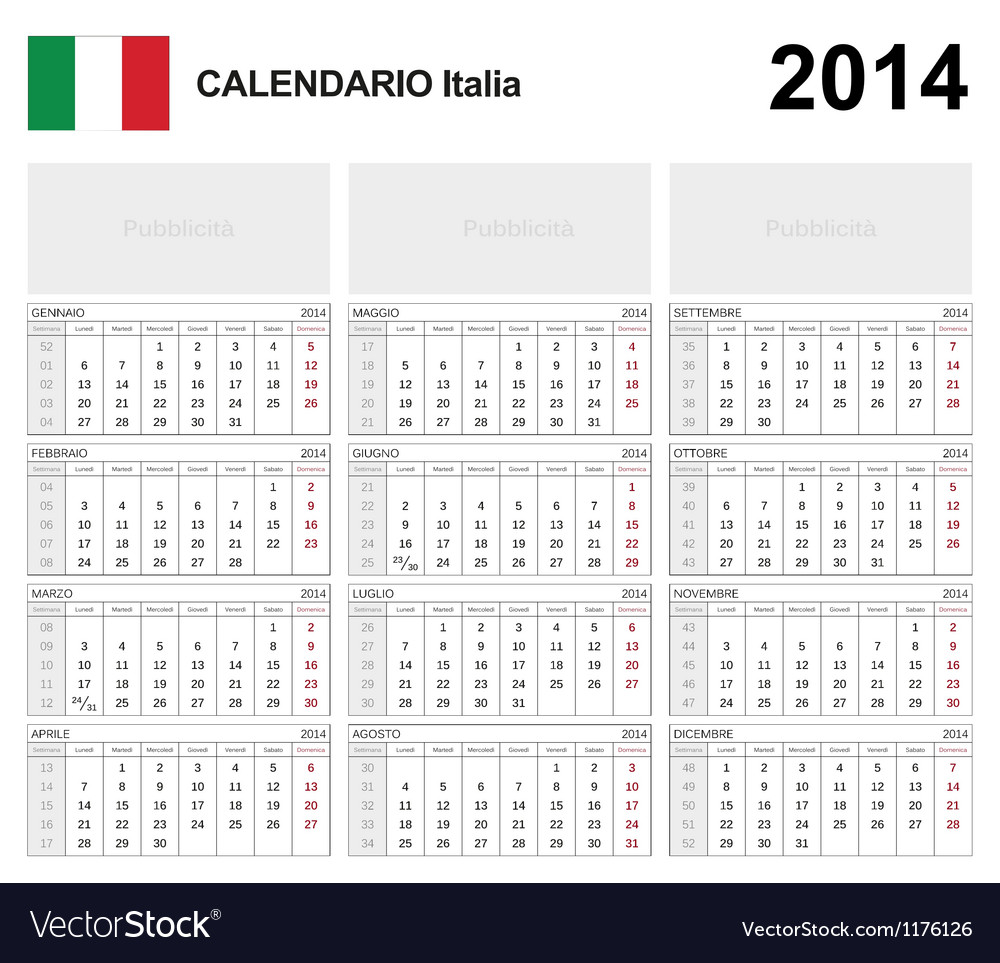 Calendar 2014 italy type 19b vector | Price: 1 Credit (USD $1)