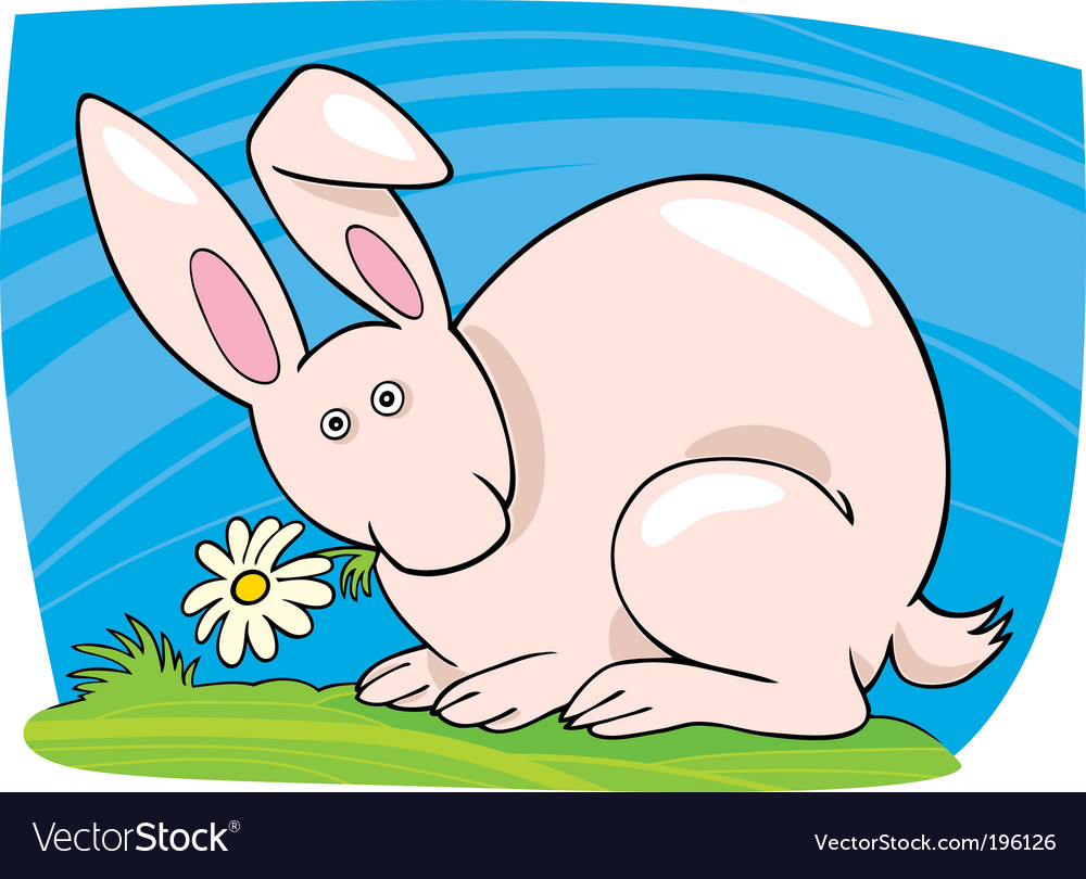 Cute bunny with flower vector   Price: 1 Credit (USD $1)