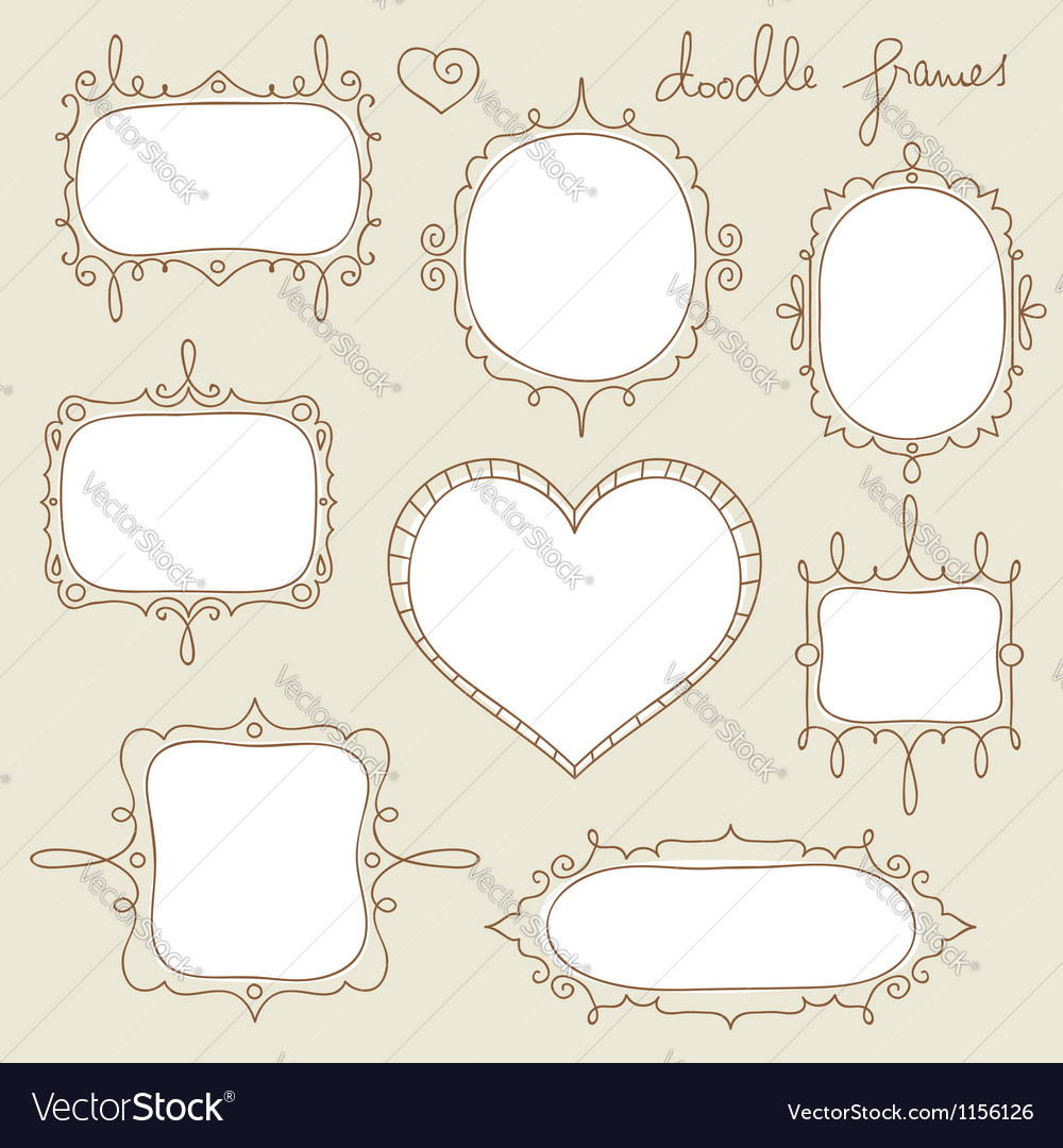 Doodle frame set vector | Price: 1 Credit (USD $1)