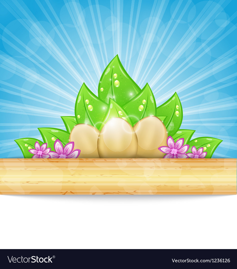 Easter background with eggs leaves flowers vector | Price: 1 Credit (USD $1)