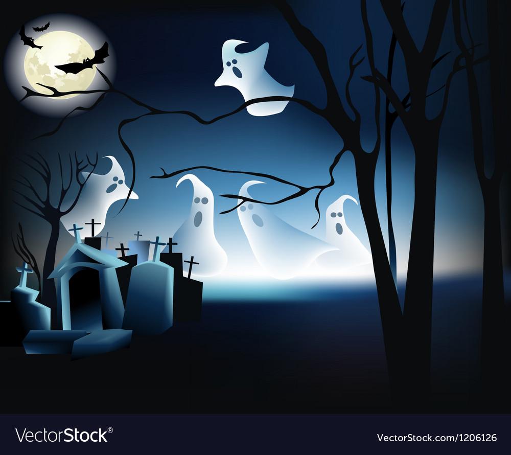 Halloween ghosts vector | Price: 1 Credit (USD $1)