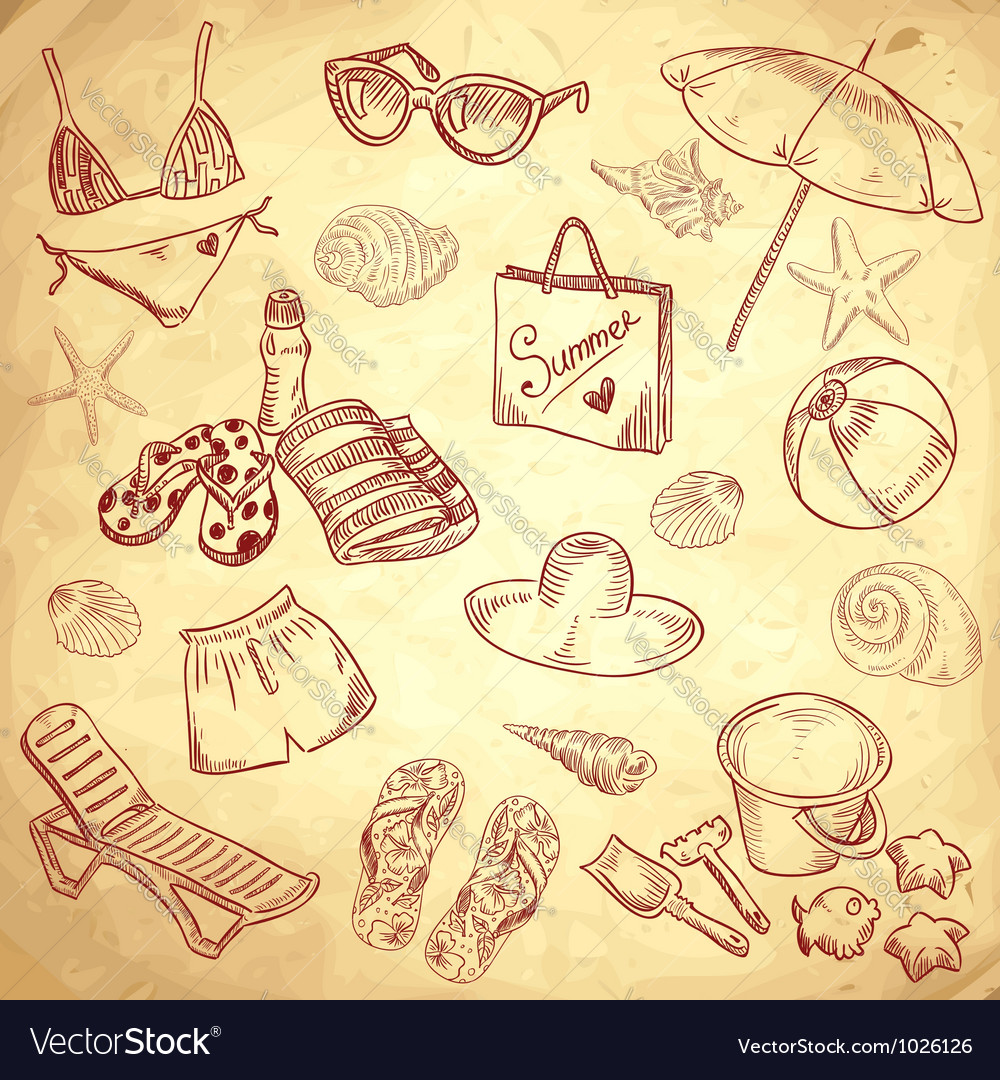 Hand drawn retro icons summer beach set vector | Price: 1 Credit (USD $1)