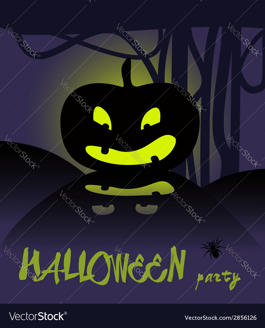 Happy halloween card with pumpkin vector | Price: 1 Credit (USD $1)