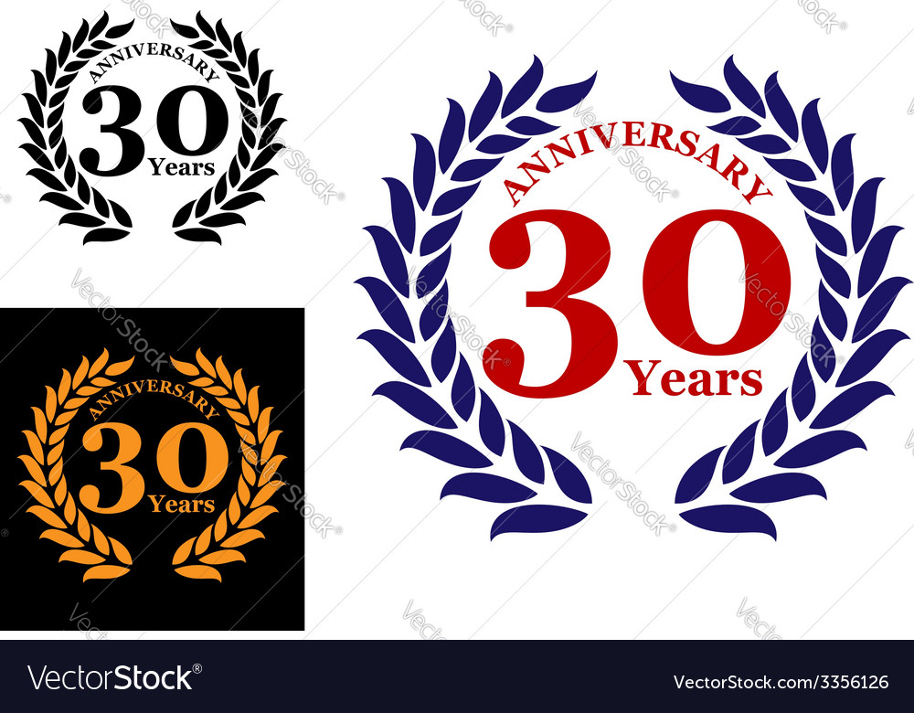 Laurel wreath with 30 years anniversary vector | Price: 1 Credit (USD $1)