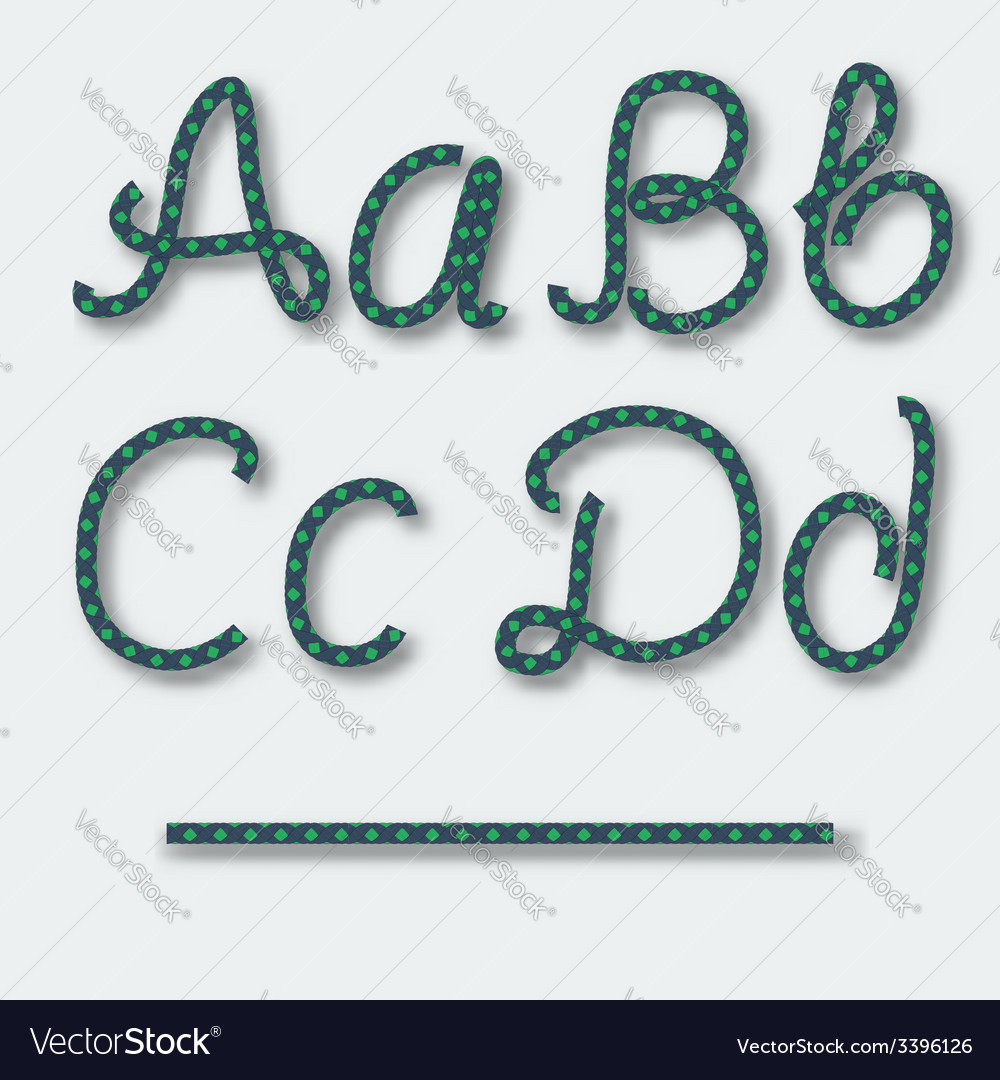 Letters a b c d - handwritten alphabet of rope vector | Price: 1 Credit (USD $1)