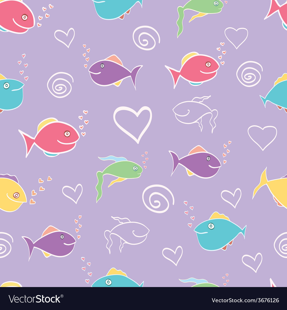 Seamless pattern cute cartoon fish vector | Price: 1 Credit (USD $1)
