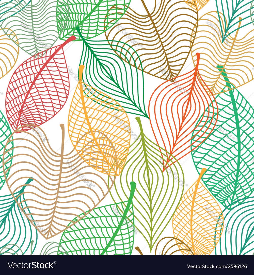 Seamless pattern of colorful leaves vector | Price: 1 Credit (USD $1)