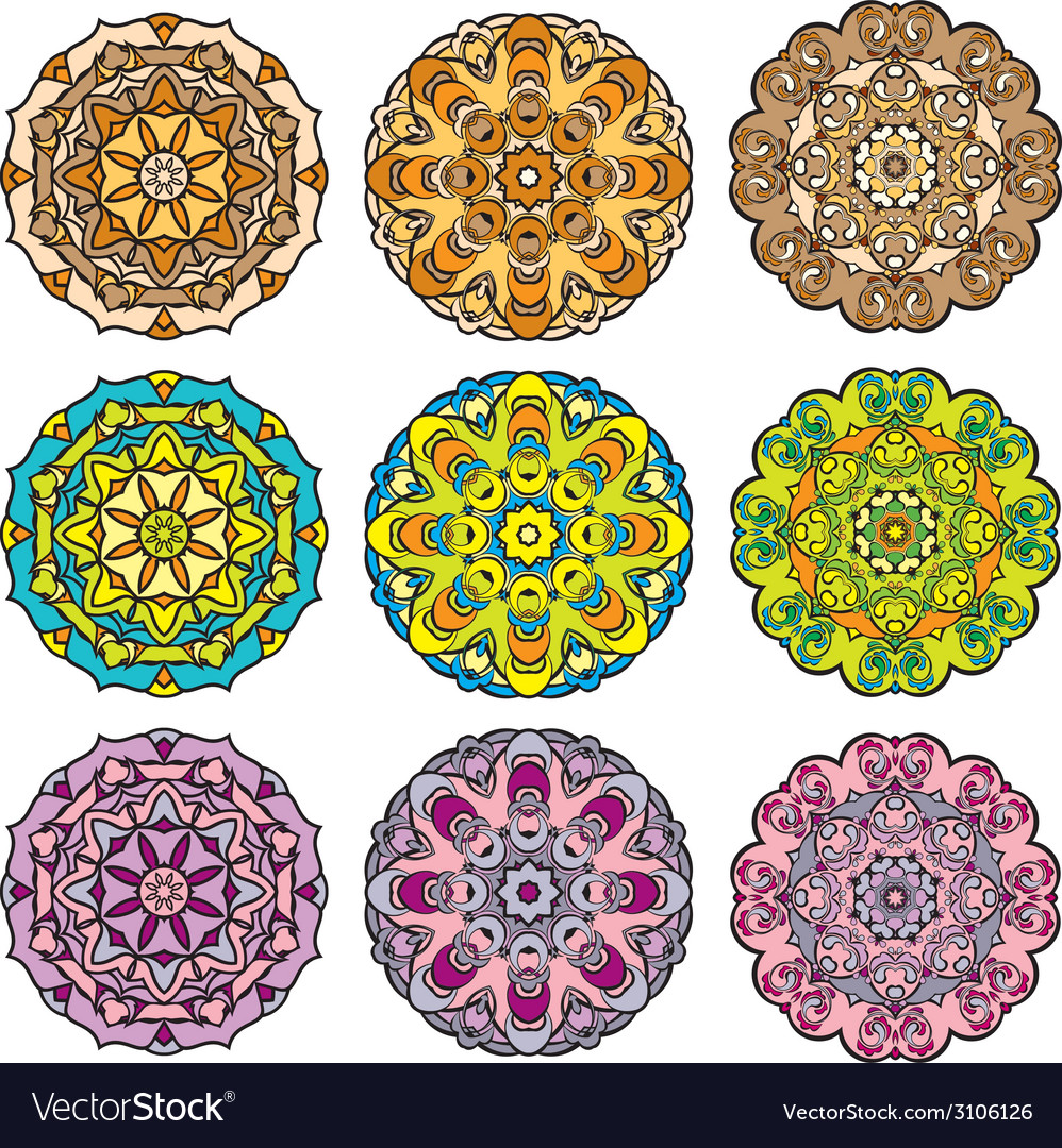 Set of 9 colorful round ornaments kaleidoscope flo vector | Price: 1 Credit (USD $1)