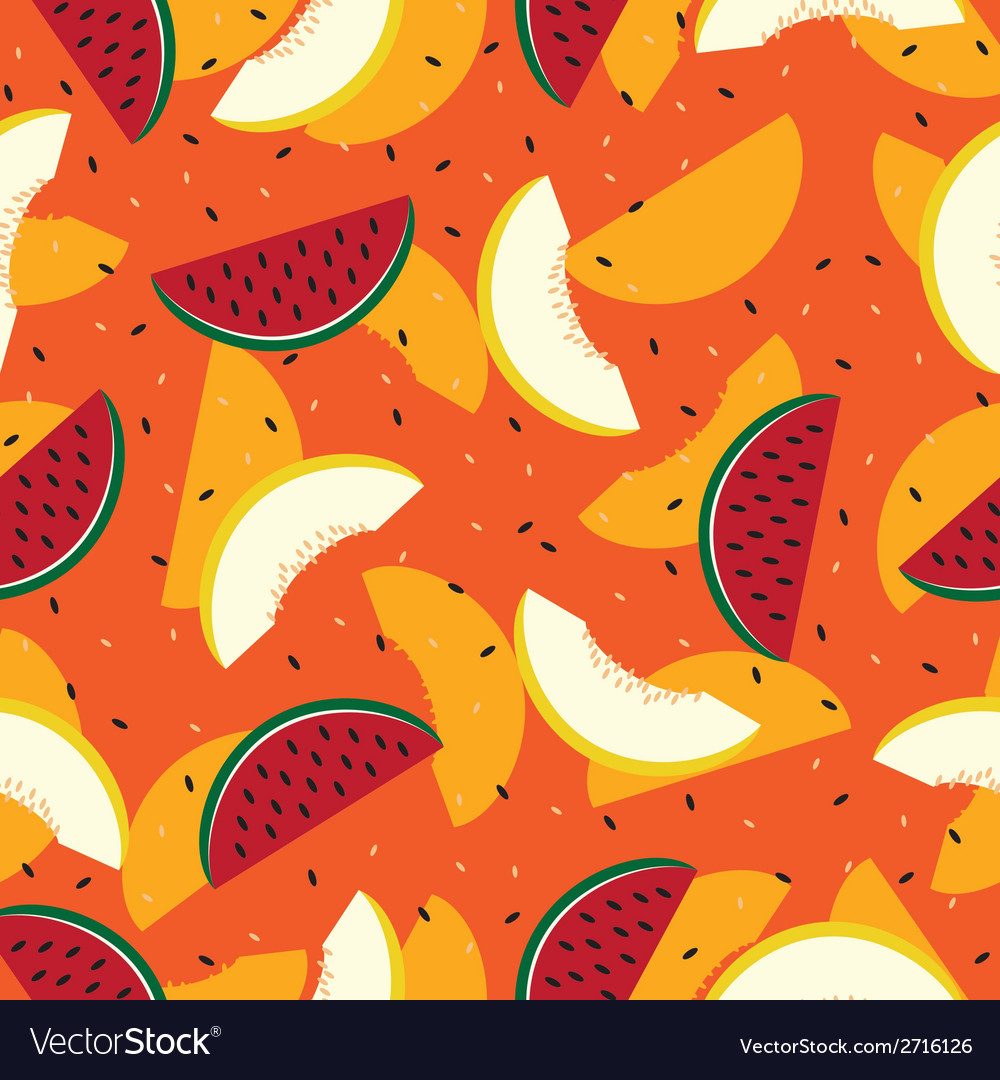 Slices of watermelon and cantaloupe seamless vector | Price: 1 Credit (USD $1)