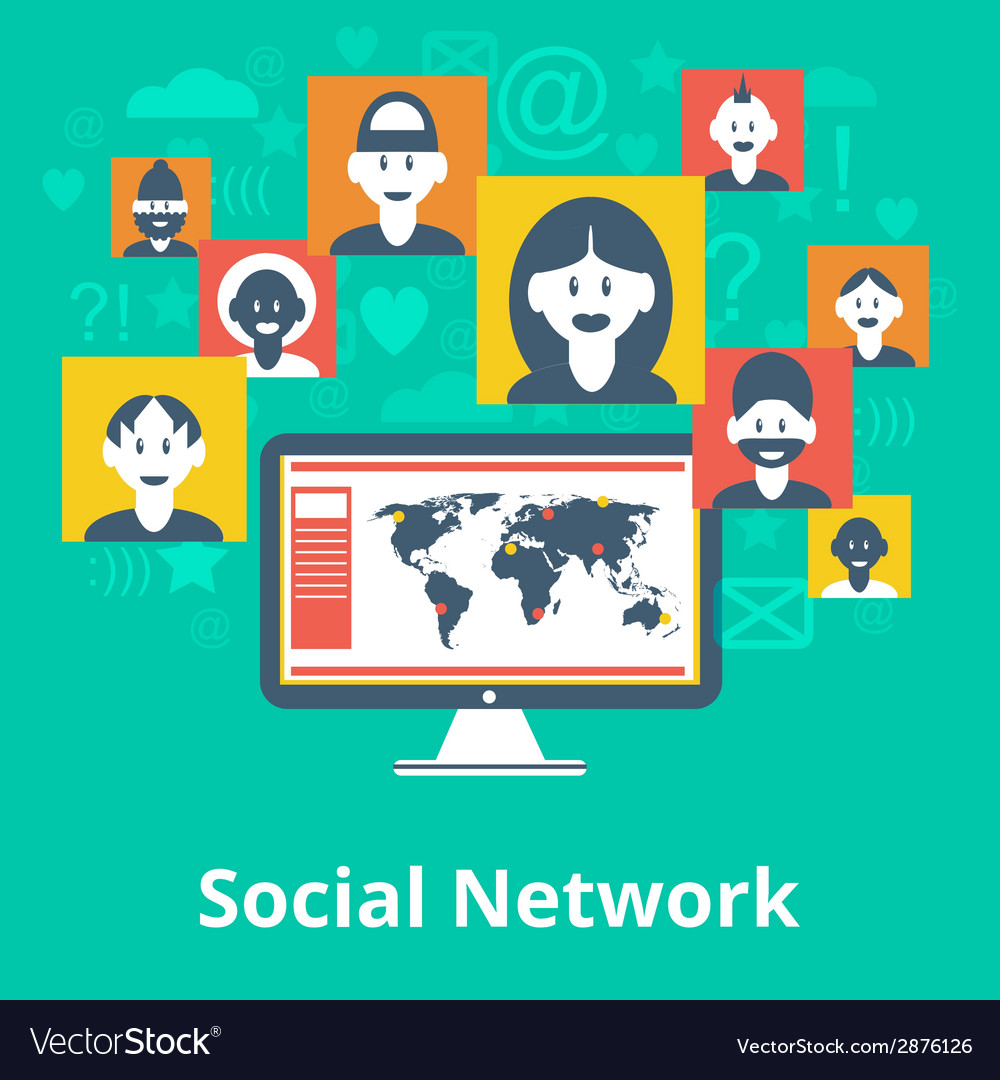 Social network icons composition poster vector | Price: 1 Credit (USD $1)