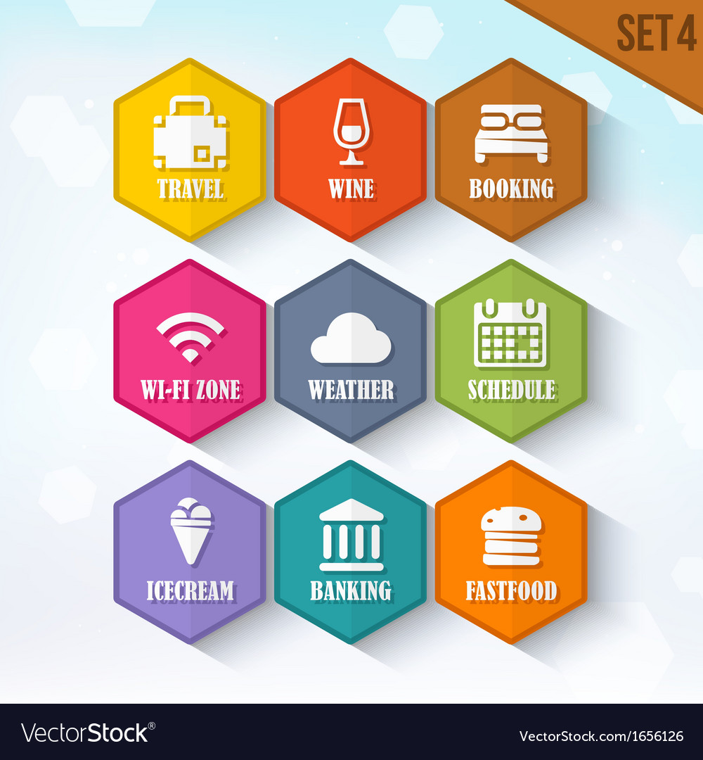 Trendy rounded hexagon icons set 4 vector | Price: 1 Credit (USD $1)