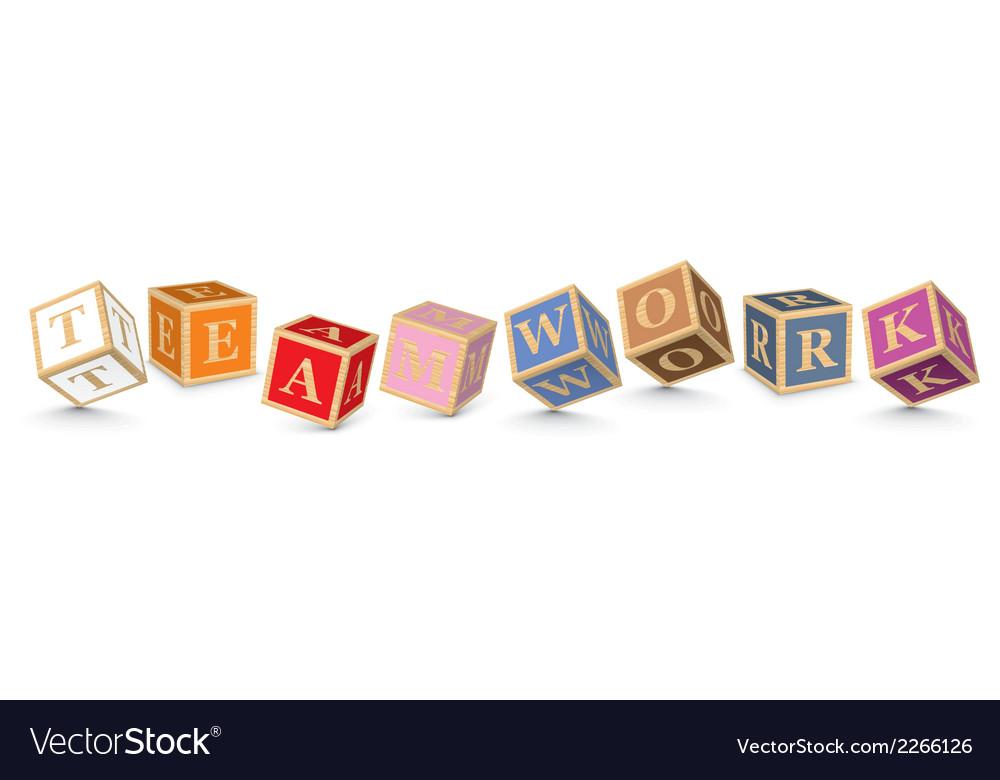 Word teamwork written with alphabet blocks vector | Price: 1 Credit (USD $1)
