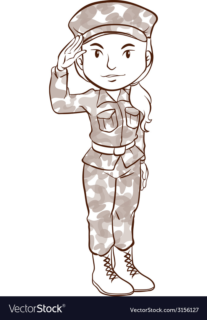 A plain sketch of a female soldier vector | Price: 1 Credit (USD $1)