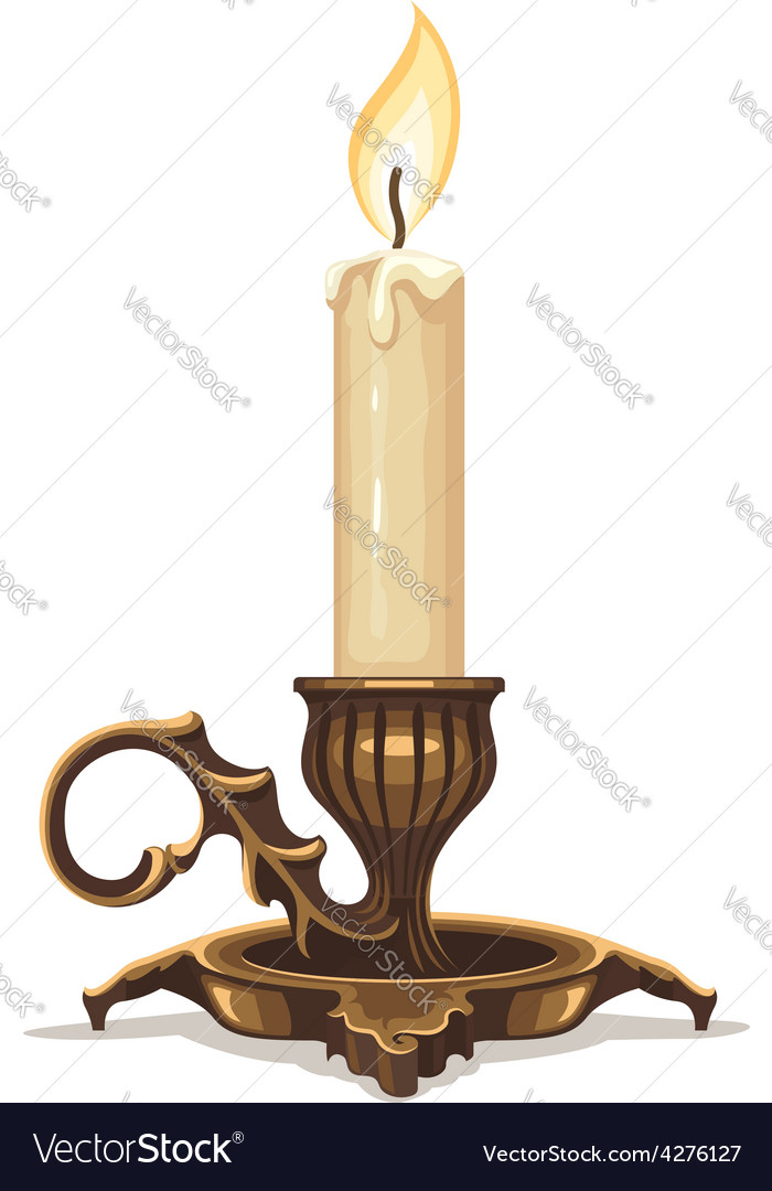 Burning candle in bronze vector | Price: 3 Credit (USD $3)