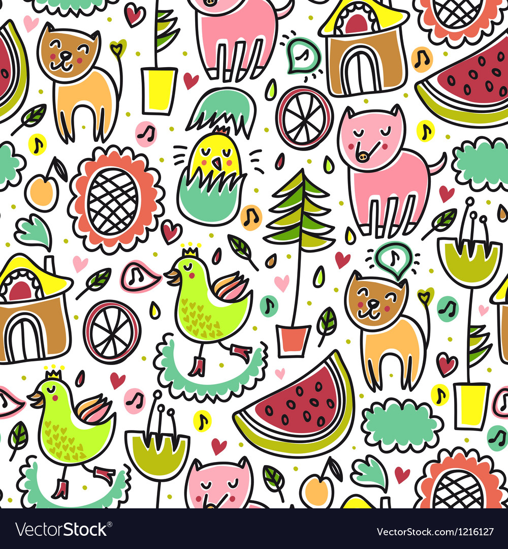 Cute colorful seamless childish pattern vector | Price: 1 Credit (USD $1)