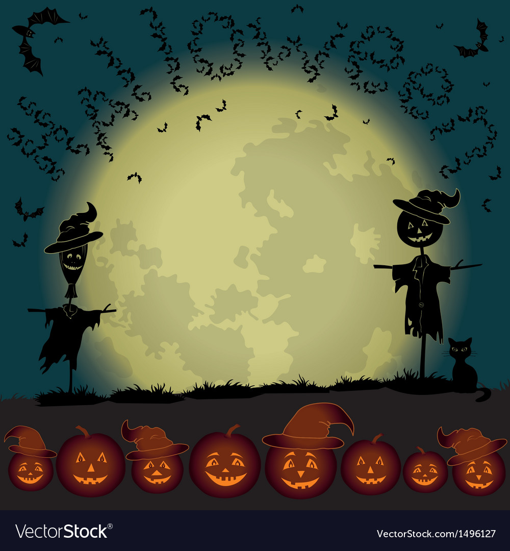Halloween landscape moon and pumpkins vector | Price: 3 Credit (USD $3)