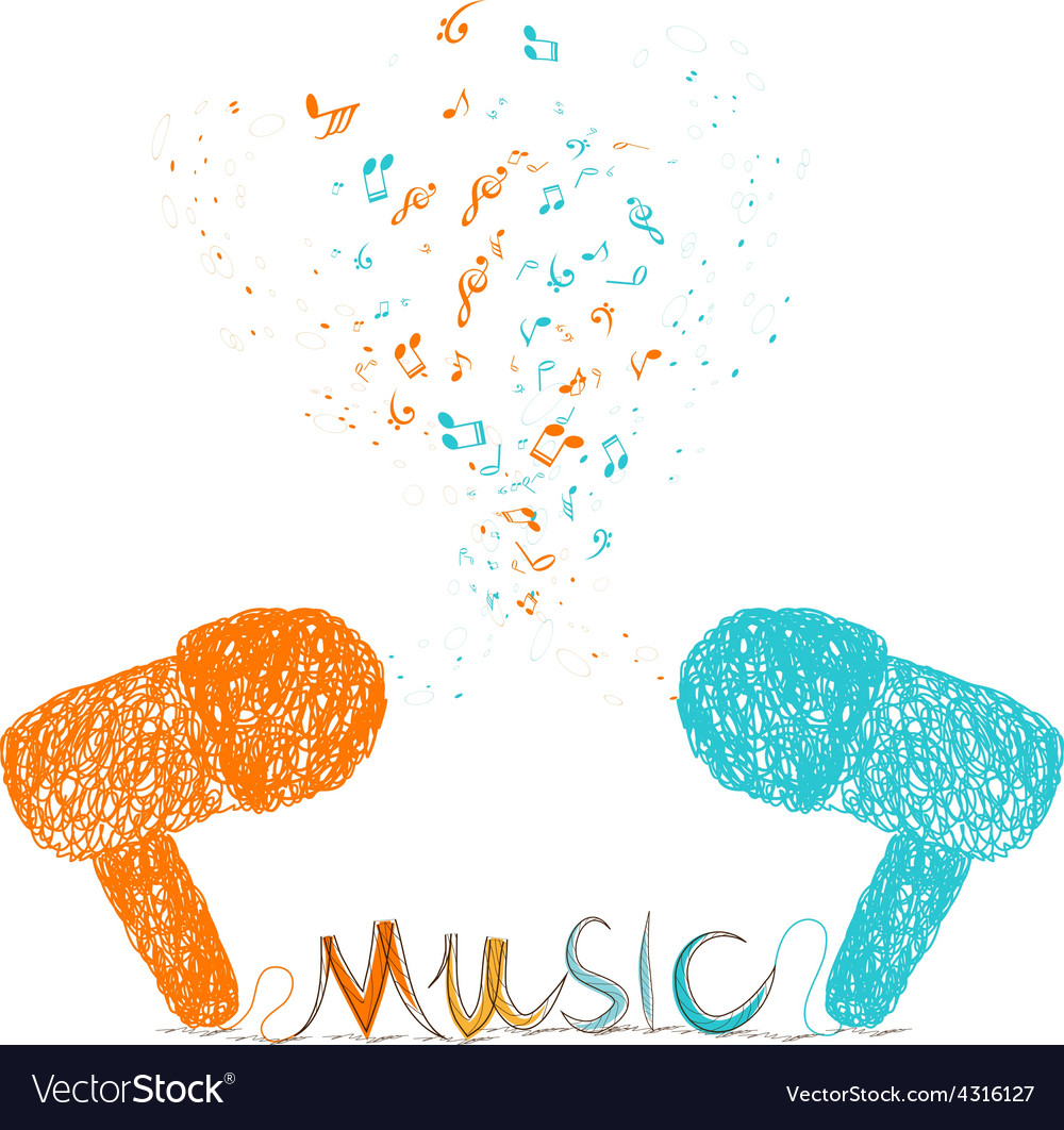 I love music doodle art colorful vector | Price: 1 Credit (USD $1)