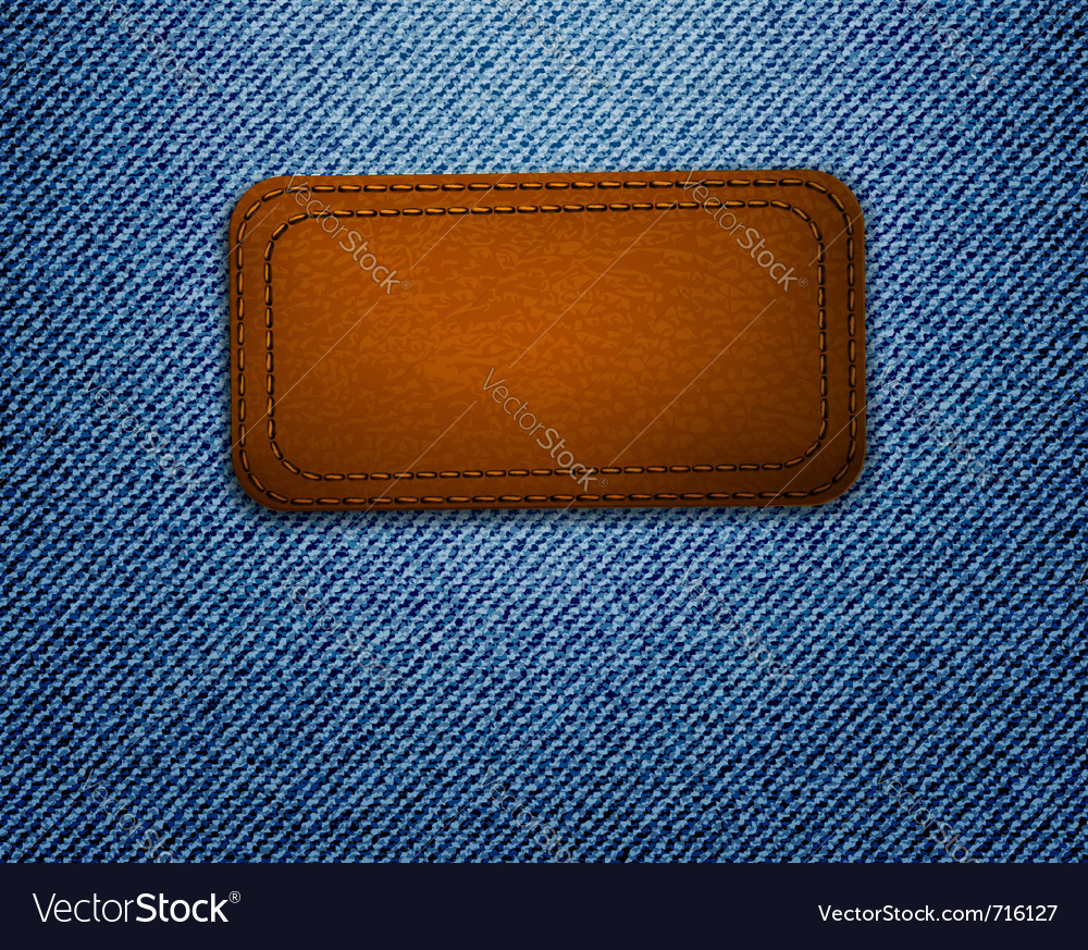 Leather label on jeans background vector | Price: 3 Credit (USD $3)