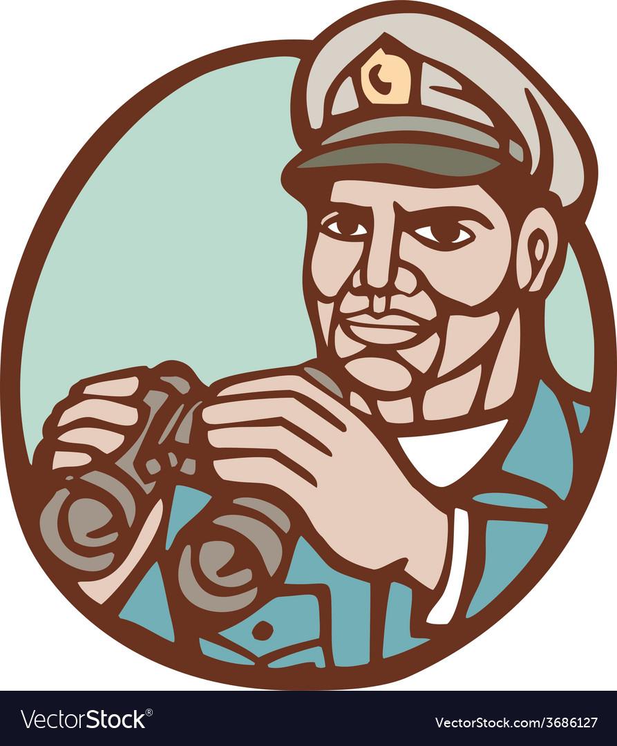 Navy admiral binoculars circle linocut vector | Price: 1 Credit (USD $1)