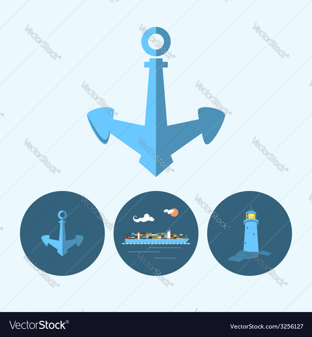 Set icon with anchor lighthouse  container ship vector | Price: 1 Credit (USD $1)