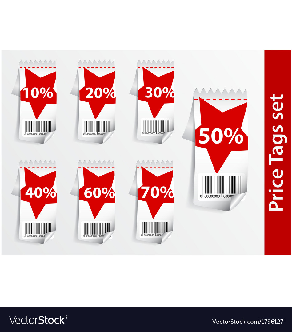 Set of discount labels with bar code vector | Price: 1 Credit (USD $1)