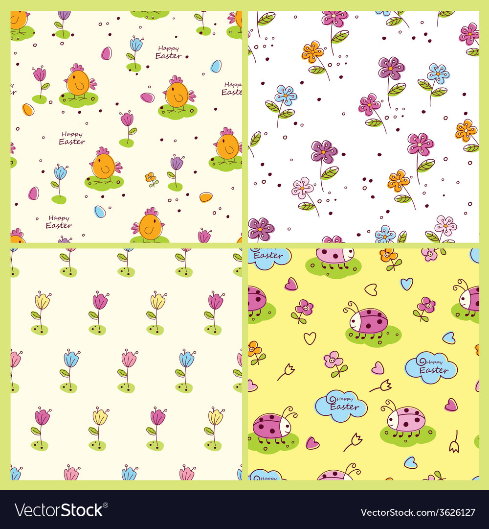 Set of doodle easter seamless patterns vector | Price: 1 Credit (USD $1)