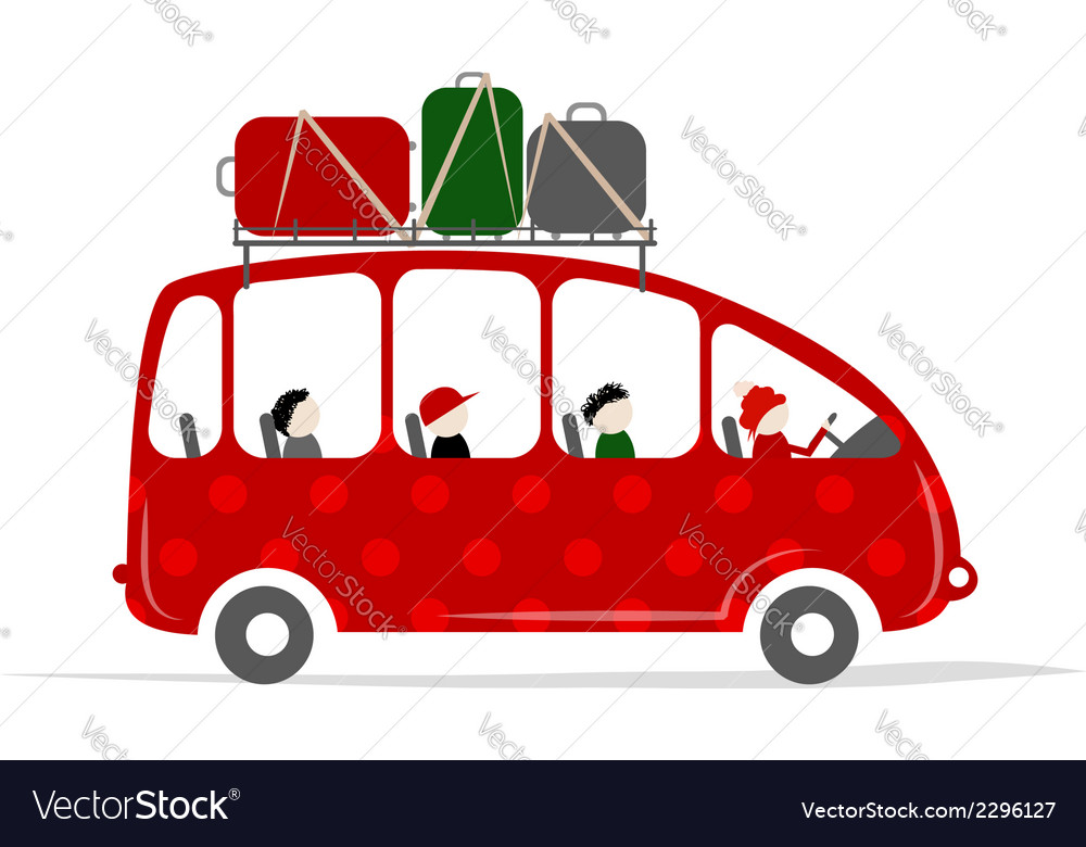 Travel bus with people and luggage on the roof vector | Price: 1 Credit (USD $1)