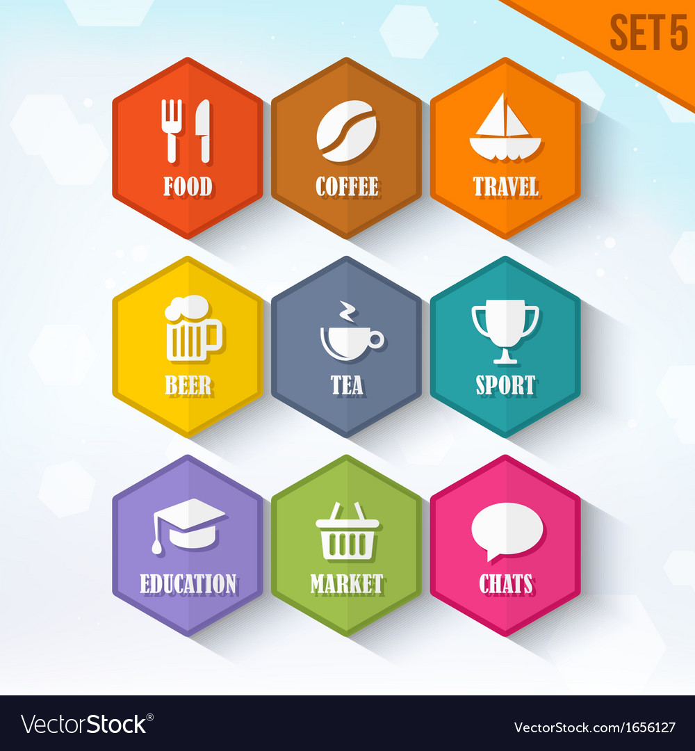 Trendy rounded hexagon icons set 5 vector | Price: 1 Credit (USD $1)