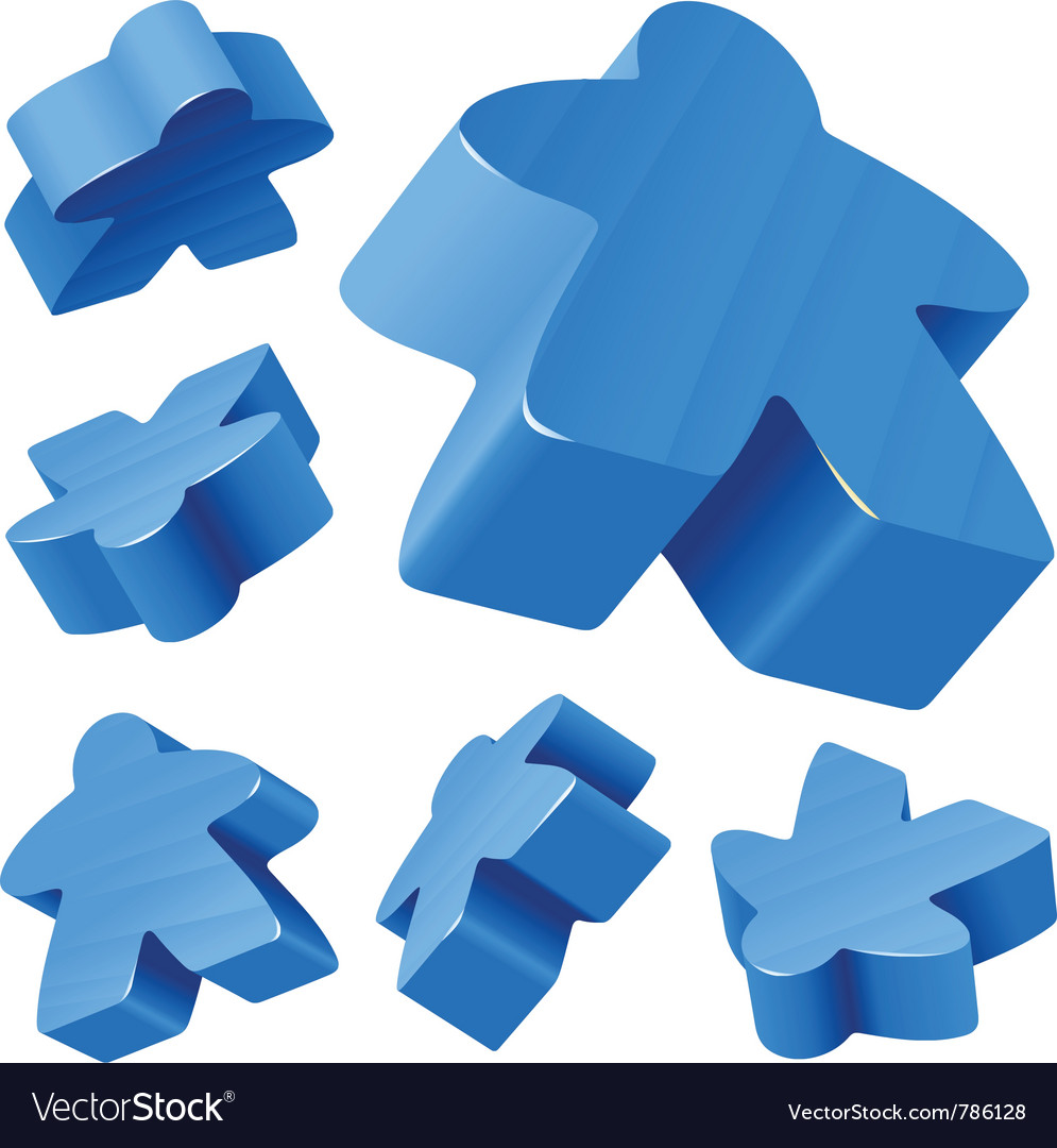 Blue wooden meeple set vector | Price: 1 Credit (USD $1)