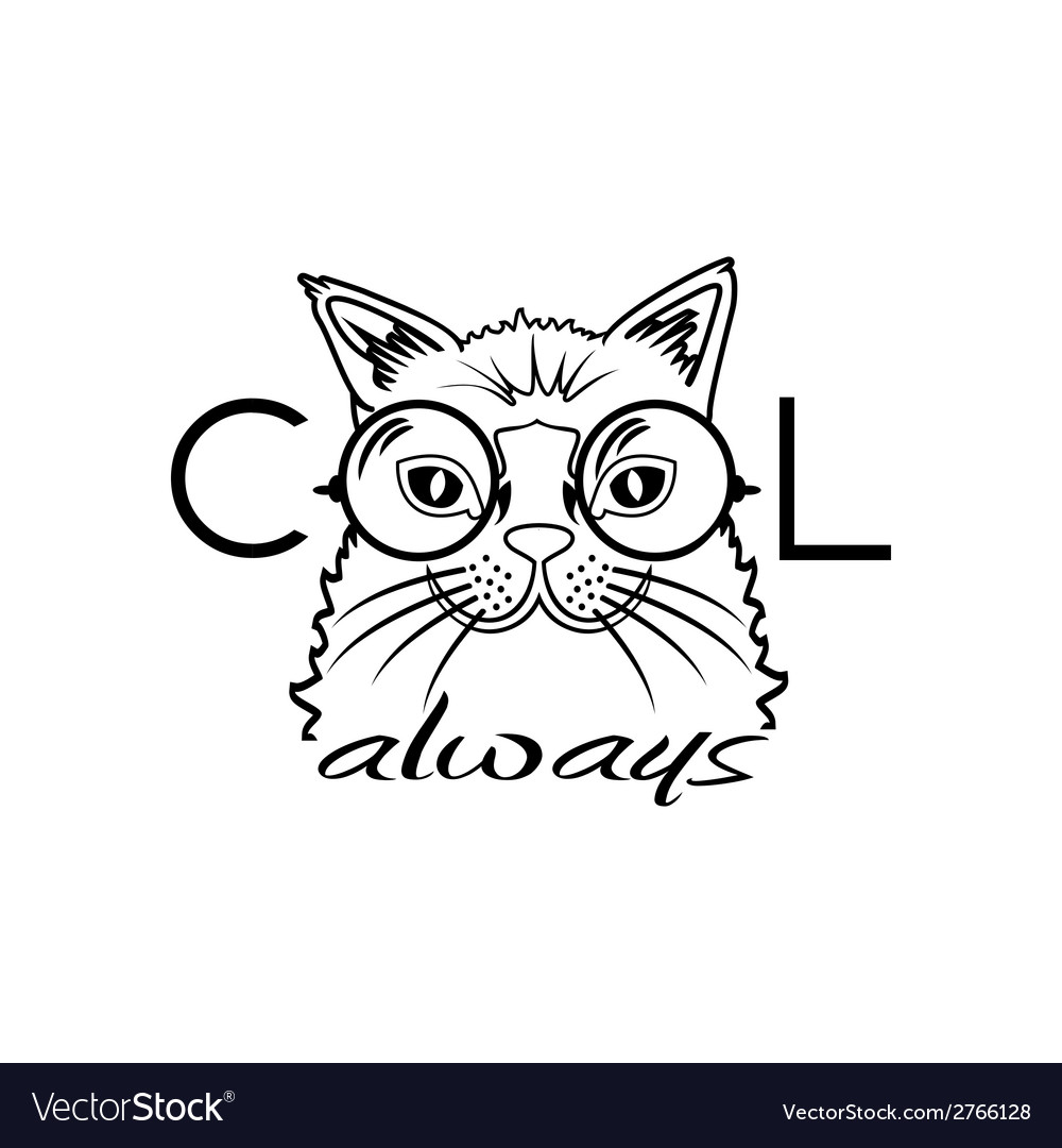 Fashion portrait of hipster cat in big glasses vector | Price: 1 Credit (USD $1)